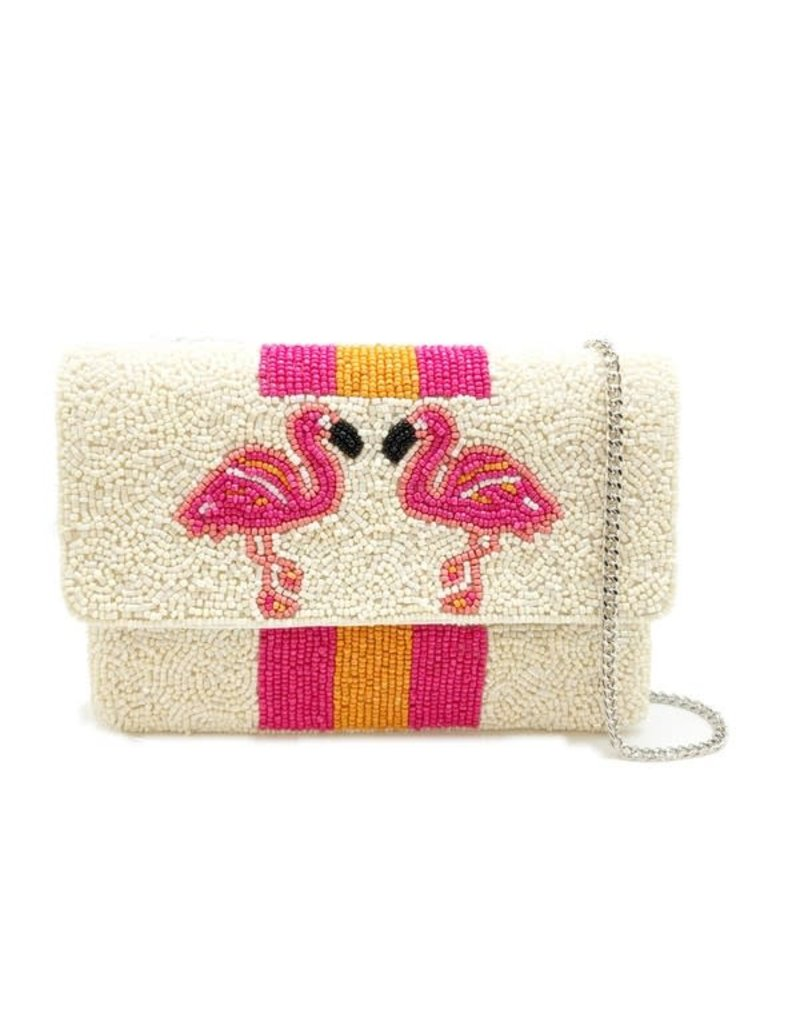 flamingo mini beaded clutch