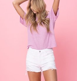 optic mid rise distressed short