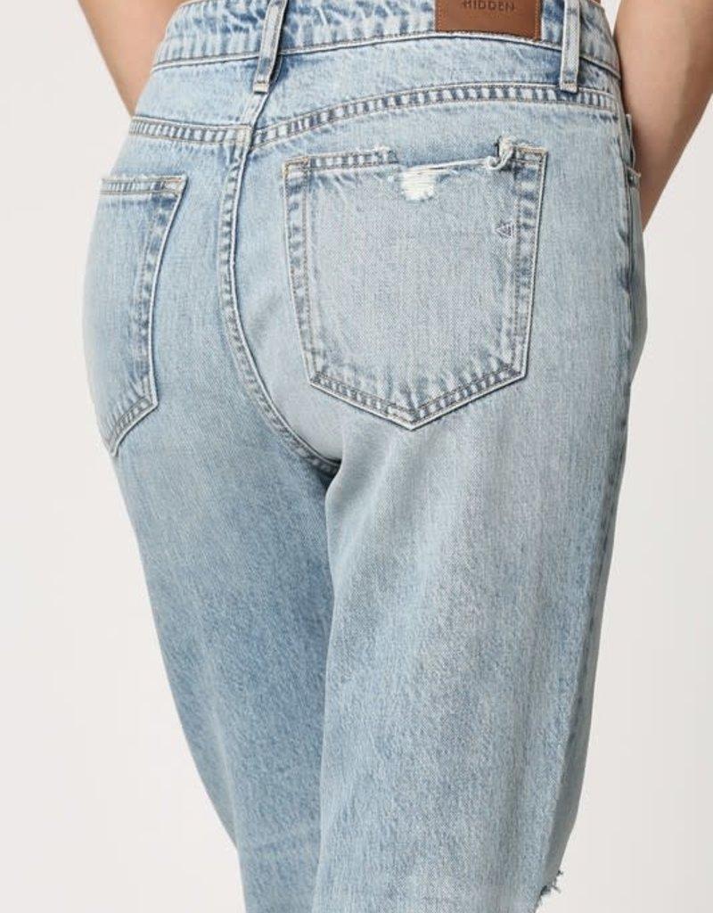 light wash distressed straight crop jean