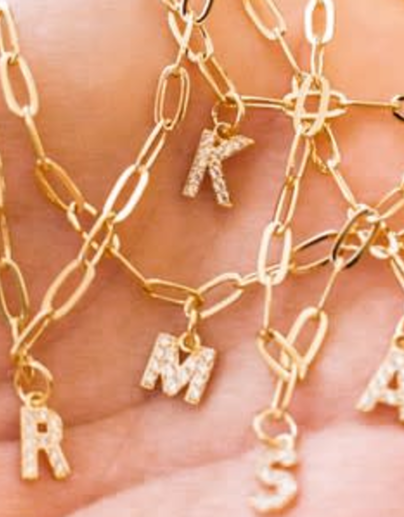 14k plated mini pave initial necklace
