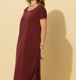 drop shoulder raw hem midi dress