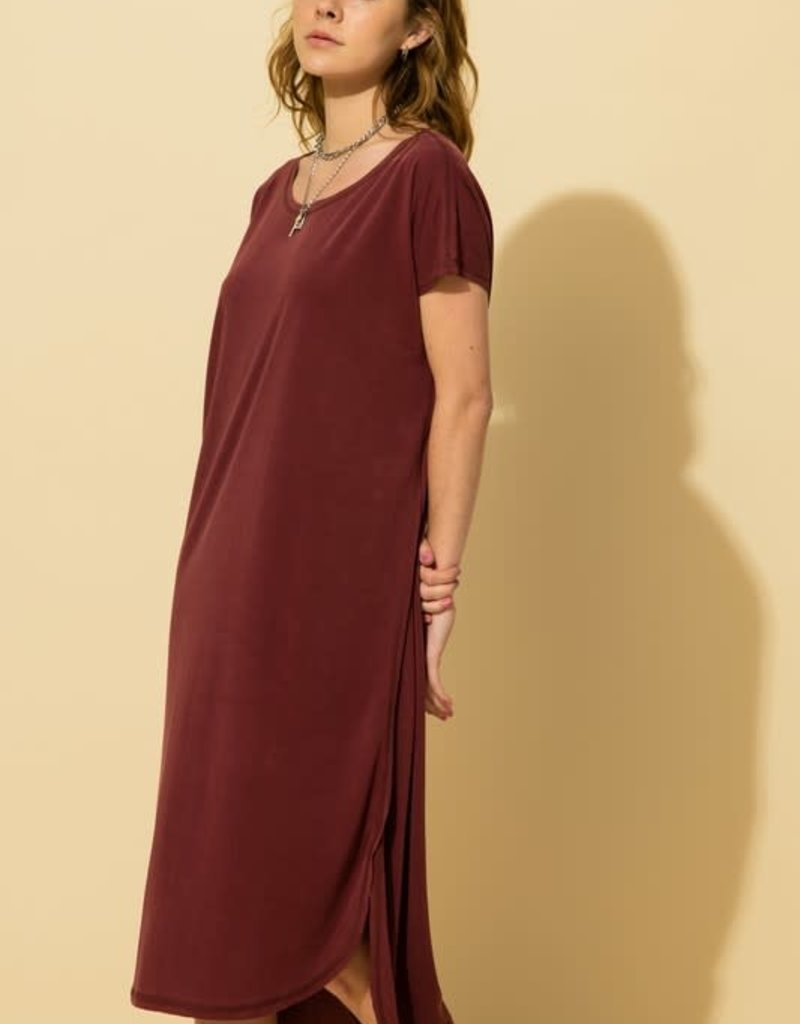 drop shoulder raw hem midi dress