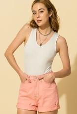 v neck sleeveless bodysuit