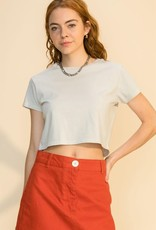 vintage wash crew neck crop top