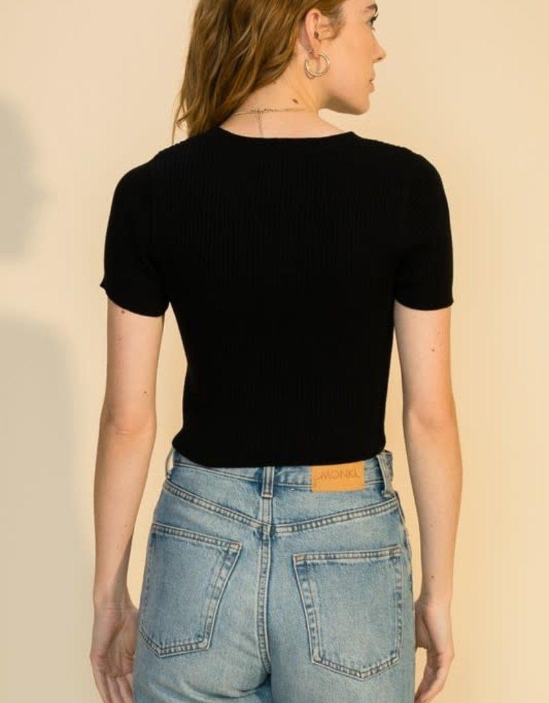 short sleeve crop sweater FINAL SALE