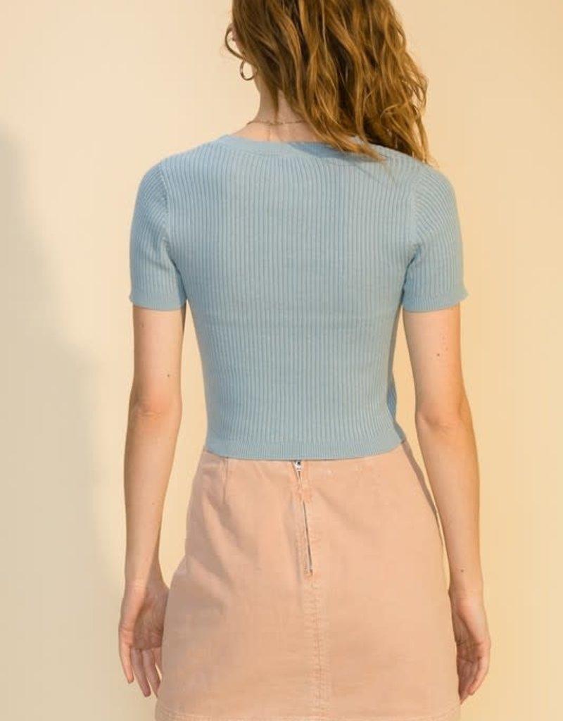 short sleeve crop sweater