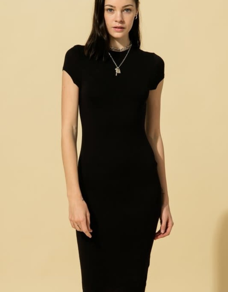 cap sleeve bodycon midi dress