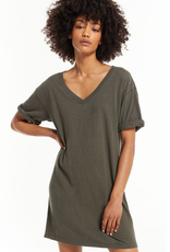 z supply rolled sleeve v neck t shirt dress