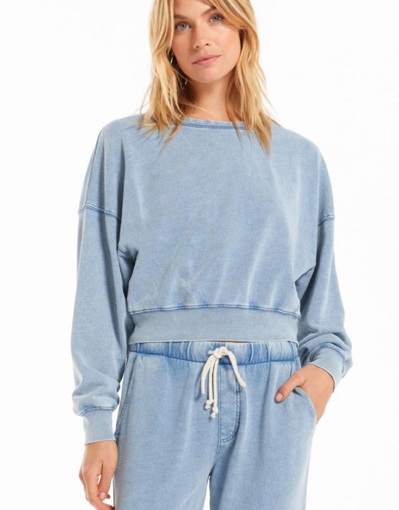 z supply sarah knit denim sweatshirt