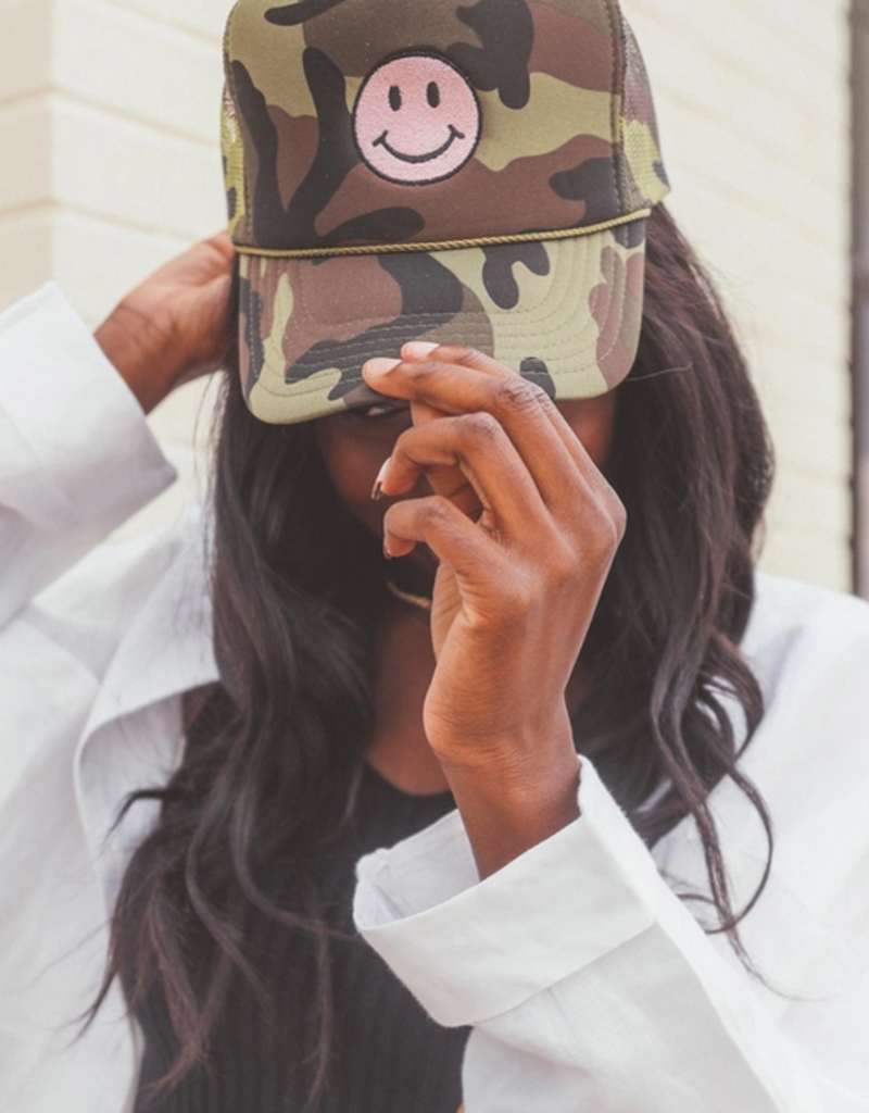 friday + saturday smiley camo trucker hat