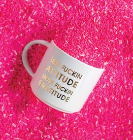 chez gagne less attitude more gratitude mug
