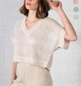 very j v neck sweater top & short set