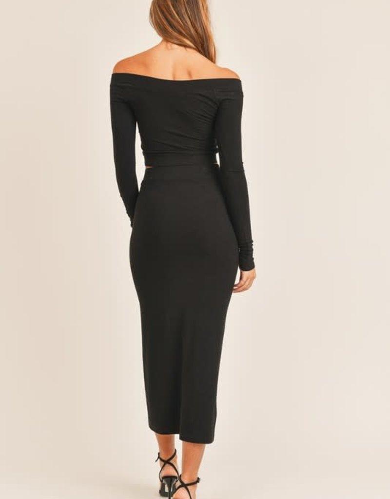elena crop top & fitted split skirt set
