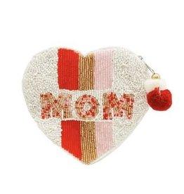 mom heart beaded coin pouch