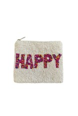 happy beaded coin pouch