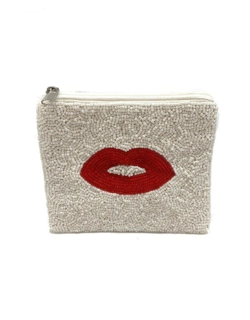 red lip beaded coin pouch