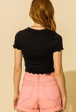 button down scalloped crop top