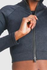 cropped raglan ribbed jacket