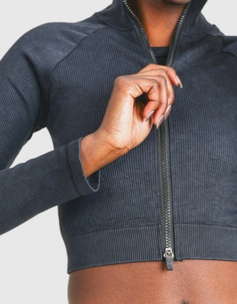 Mono B cropped raglan ribbed jacket