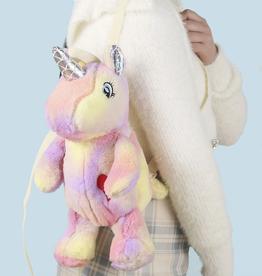 plushie tie dye unicorn backpack - pink