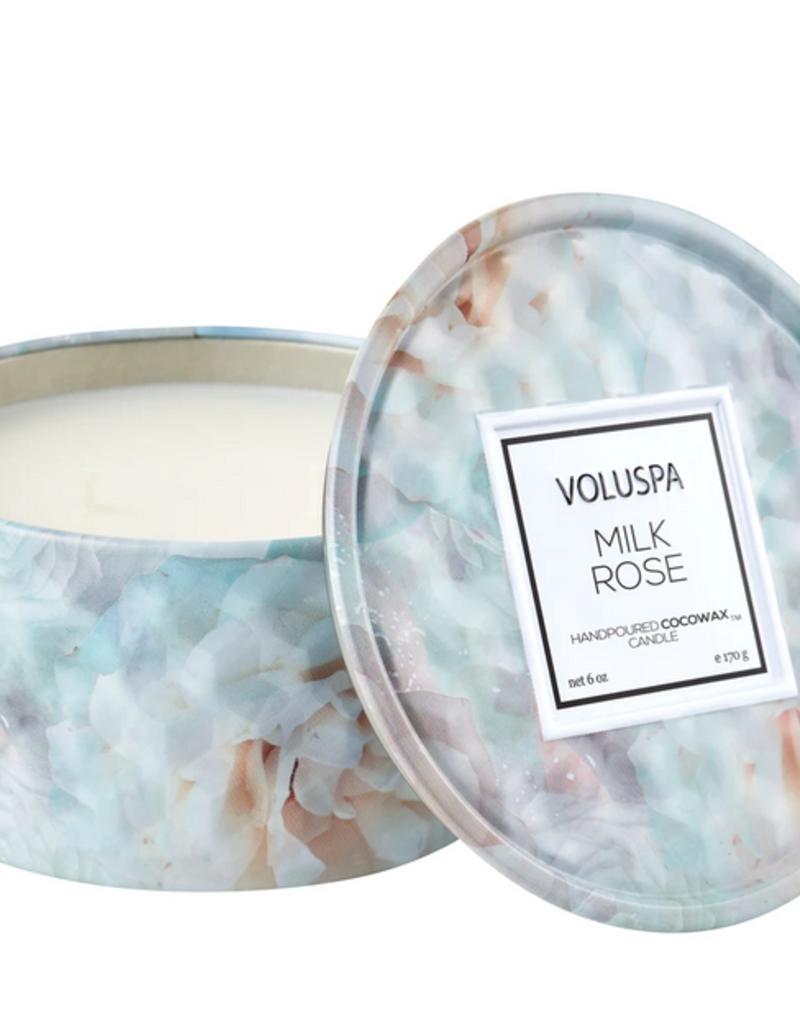 voluspa milk rose tin candle 6oz