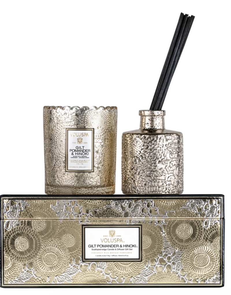 voluspa gilt pomander hinoki candle & fragrance diffuser gift set