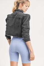 Mono B cropped distressed denim jacket
