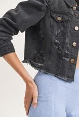 cropped distressed denim jacket