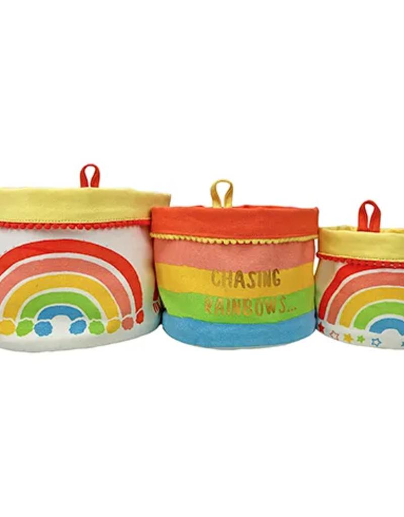 rainbow canvas storage bag set of 3