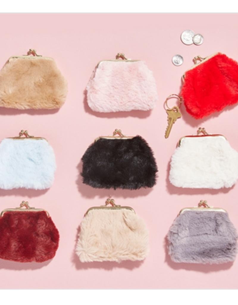 two's company faux fur coin purse FINAL SALE