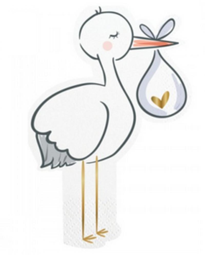 stork diecut foil beverage napkins 20ct FINAL SALE