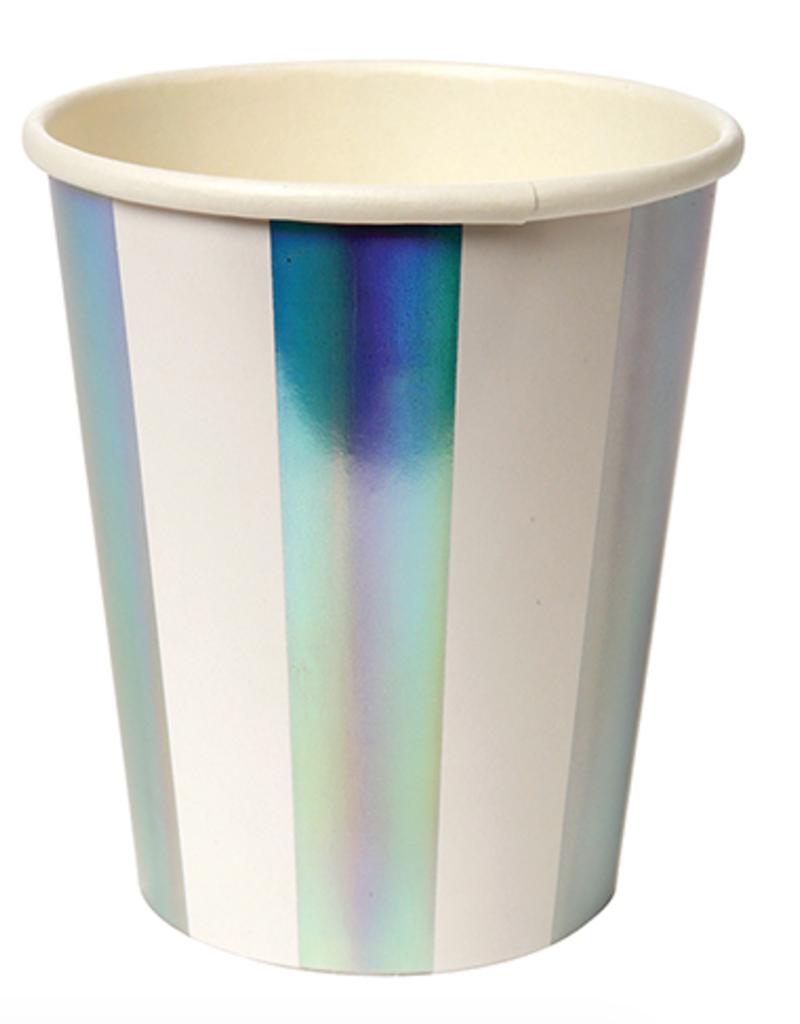 meri meri holographic silver stripe party cups (set of 8) final sale
