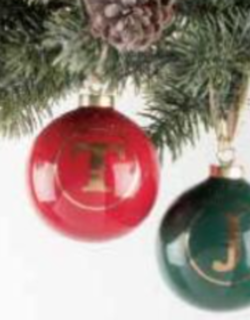 initial ornament - red FINAL SALE