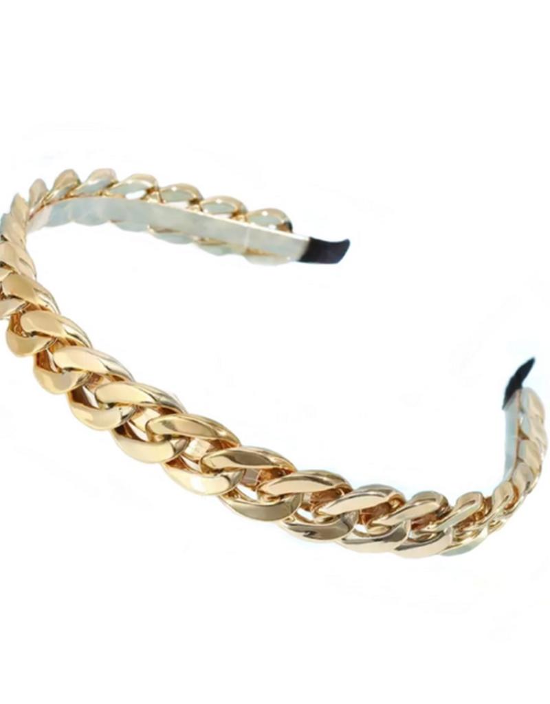 glam chain headband - gold