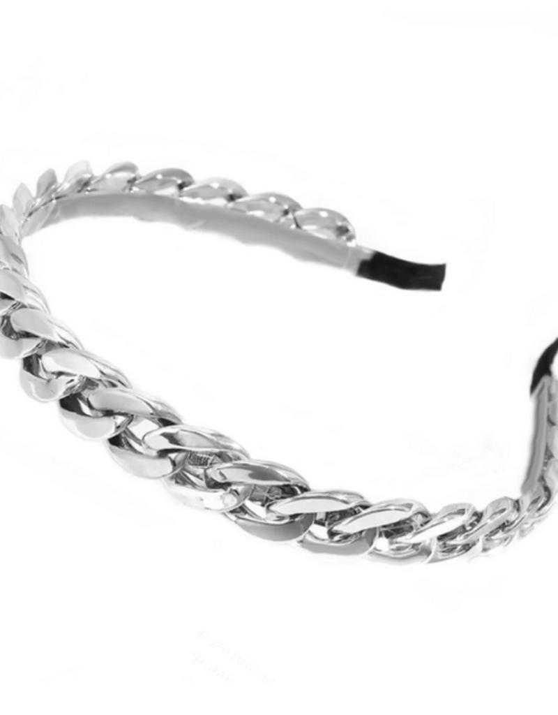 glam chain headband - silver