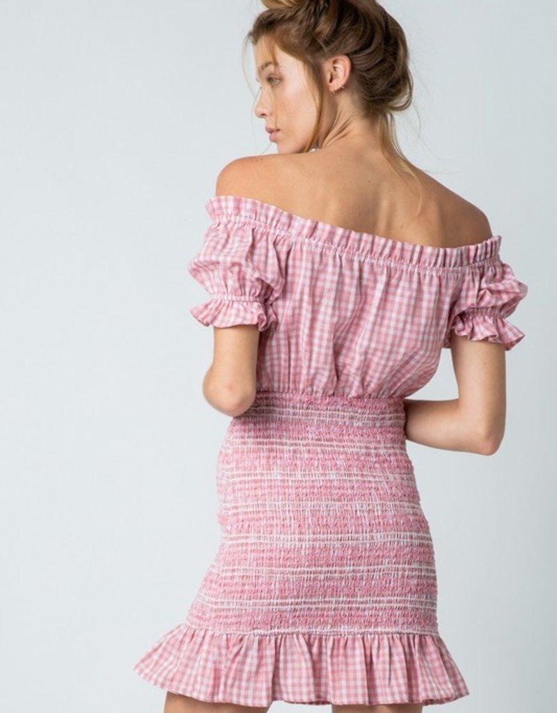 iris color block off shoulder dress