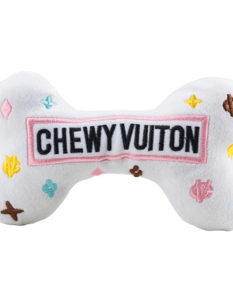 Haute Diggity Dog white chewy vuiton bone dog toy - large