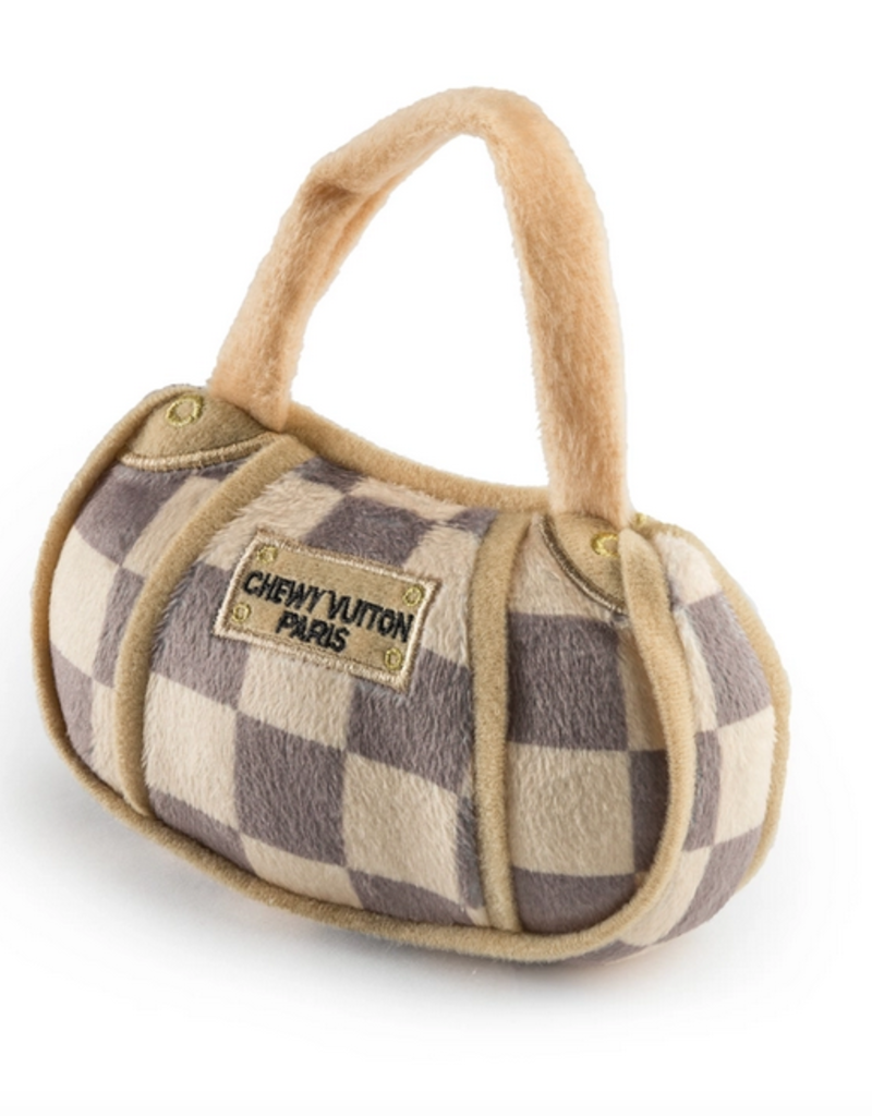 checker chewy vuiton handbag dog toy - small