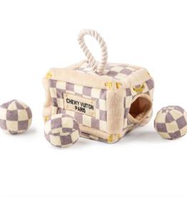 Haute Diggity Dog checker chewy vuiton trunk dog toy