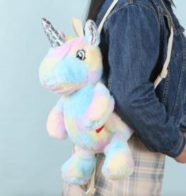 plushie tie dye unicorn backpack - blue