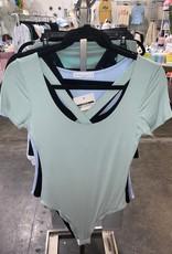 tie front short sleeve bodysuit LC