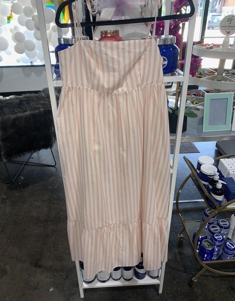 heli striped midi dress with tie