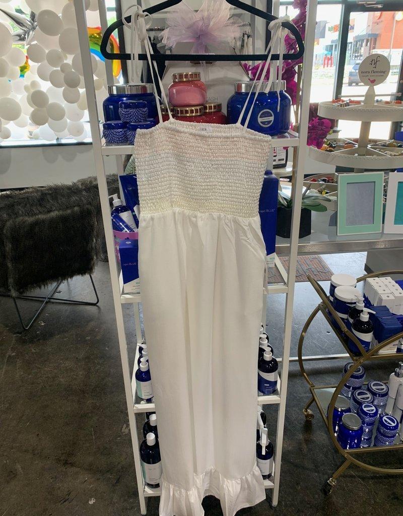 kimberly smocked ruffled hem maxi dress