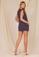 striped padded muscled dress