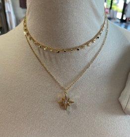 gold starburst layered necklace
