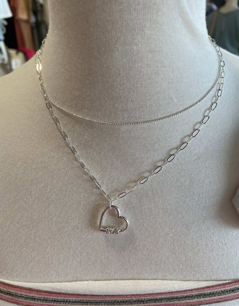 silver heart chain link layered necklace