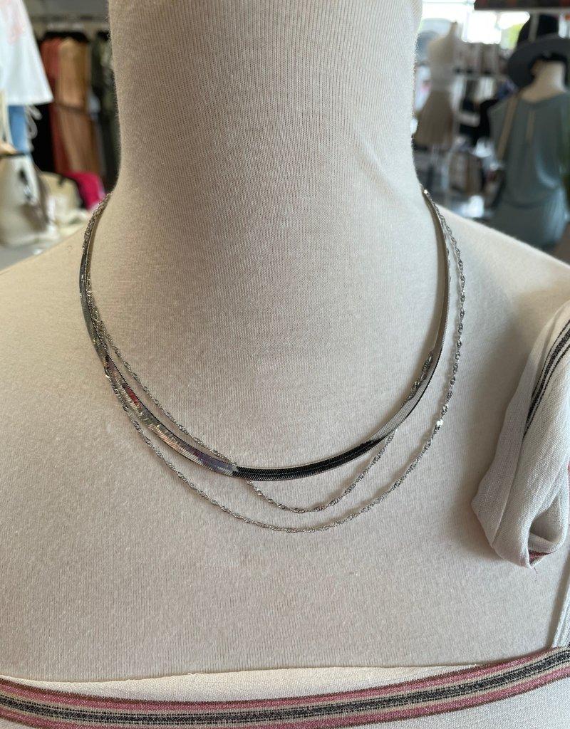 silver herringbone & chain layered necklace