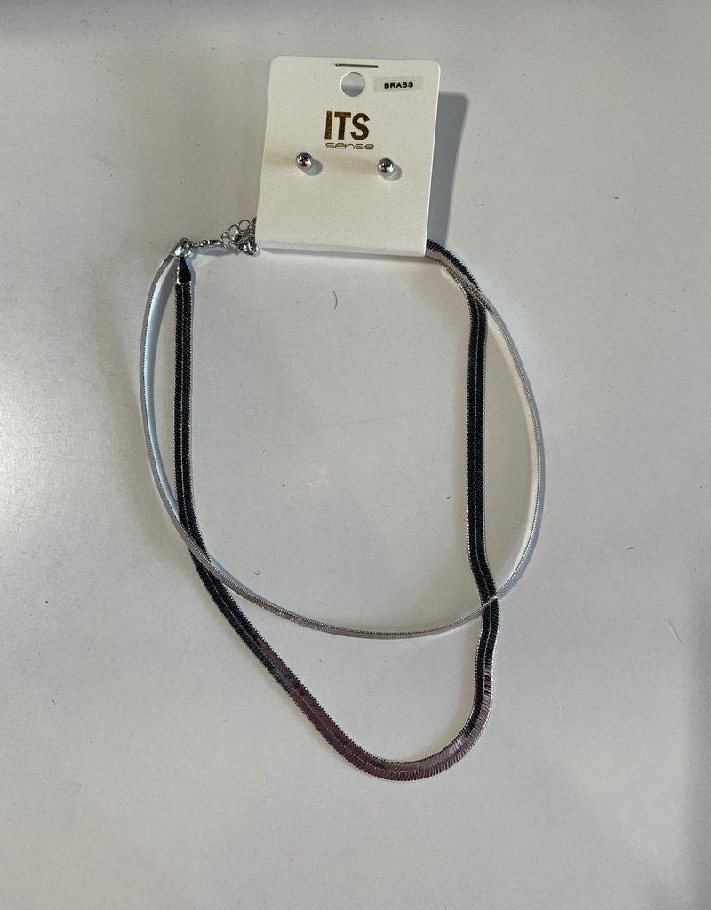silver herringbone layered necklace & earring set