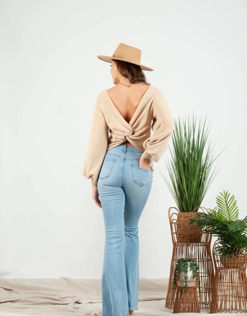 tyra twist back sweater