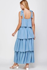tiered tie strap maxi dress